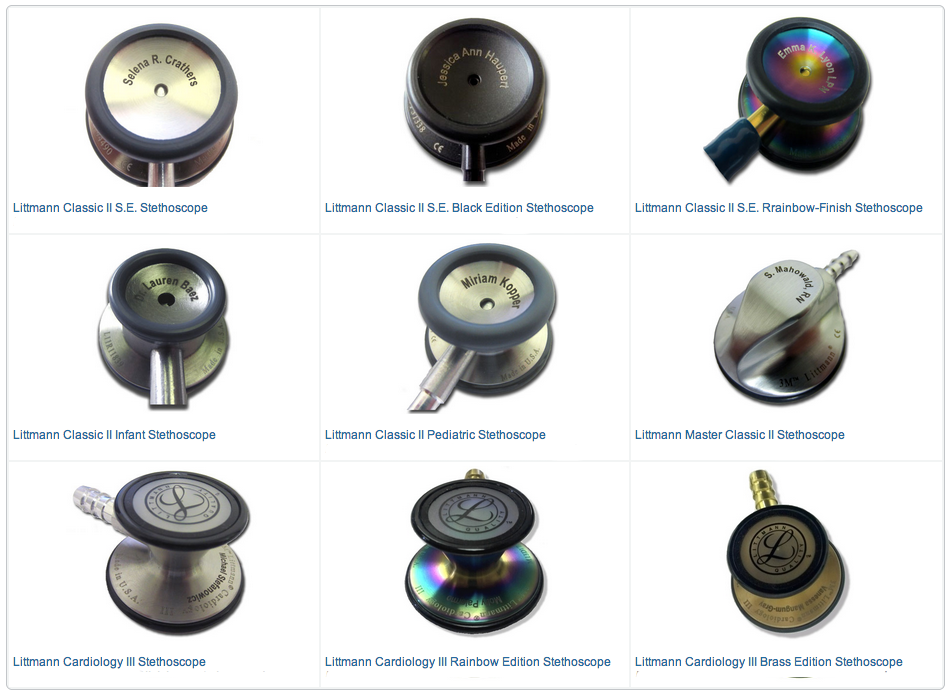 stethoscope engraving samples